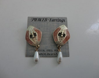 VINTAGE deco dangle POST EARRINGS