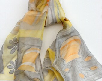 Grey and Peach hand painted silk scarf.   Hand painted silk scarf. Soft Grey and Pastel Peach scarf