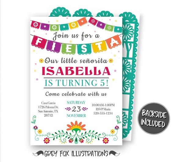 Fiesta Invitation Fiesta Birthday Invitation Mexican Fiesta