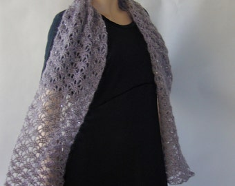 Crochet Scarf, Sequin Gray Lace Scarf, Mohair Scarf, Women's Scarves, Smoky Lilac, Hand Crocheted, Gift for Her, Wife Gift, Girlfriend Gift