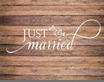 SVG Just Married, love birds svg, wedding birds cricut, just married svg file, wedding doves svg, wedding sign svg file, just married print