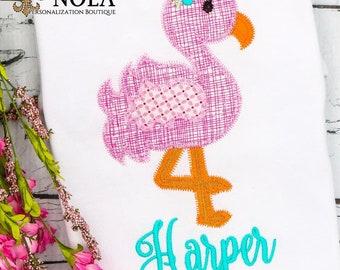 Flamingo Applique, Flamingo Shirt, Flamingo Outfit, Spring Applique, Summer Applique