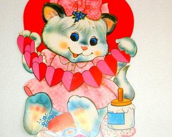 Vintage Valentine Wall Decoration, Valentine's Day Decor, Wall Art, Kitty, Kitten, Cat, Heart  (52-14)