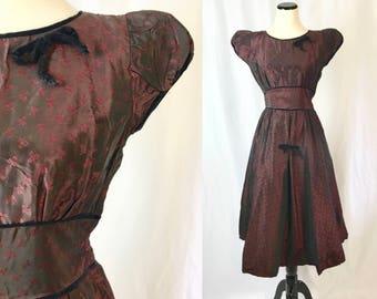 Xs ** 1950s DARK RED sharkskin taffeta velvet trim party dress ** vintage fifties crimson fit and flare dress