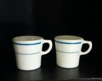 Pyrex Tableware two (2) Blue Band mugs