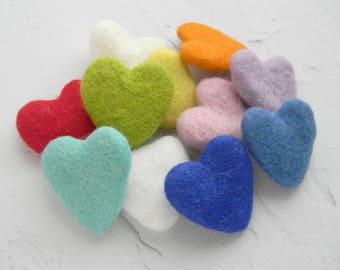 Wool Felt Hearts 10 Wool Felt Hearts Felted Wool  DIY garland DIY baby mobile Valentine's Day Gift Christmas ornament Wedding favor