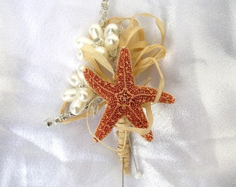 beach wedding boutonniere, starfish boutonniere, coastal boutonniere, nautical buttonhole, coastal wedding corsage, starfish corsage, groom