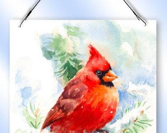 Winter Cardinal Window Sun Catcher from Redeye Laserworks