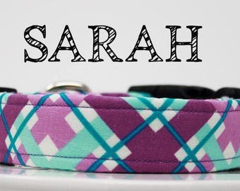 Sarah - Purple, Teal Plaid Handmade Collar