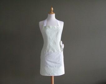 full linen hostess apron and trivets/potholders set - light green - pastel green - kitchen gift set - foodie gift - hostess set