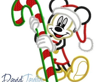 Christmas Candy Cane Mickey (2) 4x4, 5x7, 6x10, 7x10, 8x10 in 9 formats - Applique - Instant Download - David Taylor Digitizing