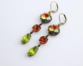 Rainbow earrings, long earrings, Volcano earrings, orange earrings, olivine earrings, Swarovski earrings, green earrings, Fall wedding,