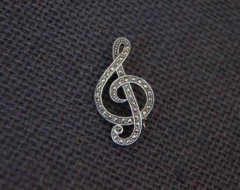 Vintage Sterling Silver and Marcasite Brooch - Vintage Marcasite Brooch - Musician Brooch - Vintage Pin - Vintage Treble Clef Brooch