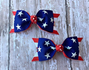 July 4th Pigtail Set Patriotic Tuxedo Bows Patriotic Pigtails Stars and Stripes Tuxedo Style Toddler Hair Bow 3 Inch Alligator Clip Hairbow