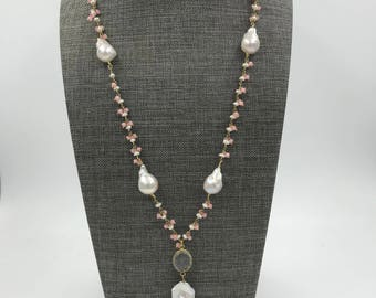Pink Chalcedony and Pearl Cluster Rosary Chain with Baroque Pearls
