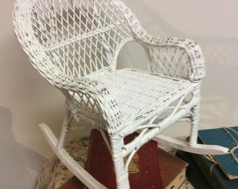Vintage Shabby Chic White Wicker Rattan Rocking Chair Doll Chair Handpainted Nursery Decor Country French Cottage Style