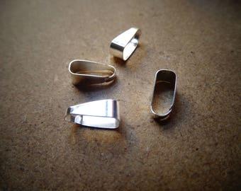 10 clip silver color pendant bails