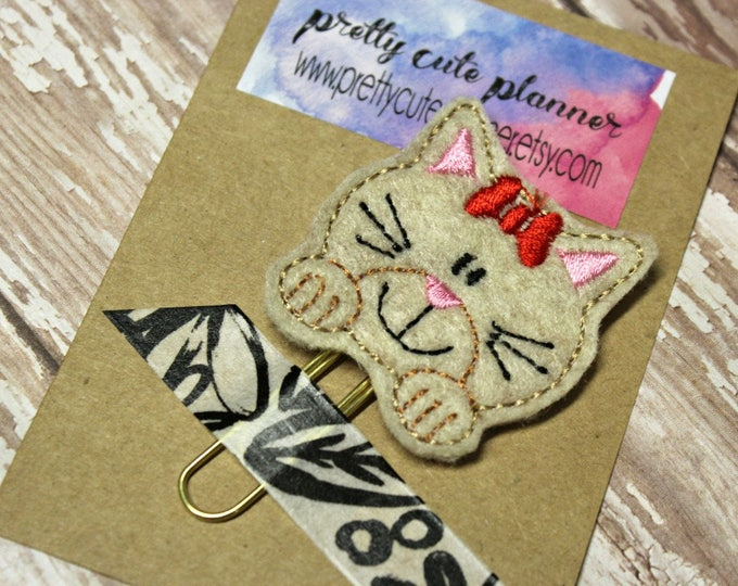 Planner Clip - Planner Bookmark - Tan Cat Planner clip - Kitty planner clip- Felt Planner Clip - Felt Bookmark - Feltie - Cat Paperclip