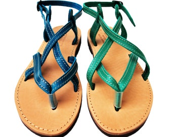 Women's Leather Sandals, strappy sandals with buckle