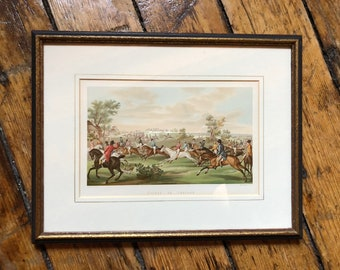 c. 19thC FRAMED HORSE RACING print - original antique print - equine print - horse race print - framed and ready to hang