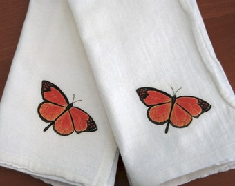 Monarch Butterfly Napkins, Flour Sack Cotton,  Napkin Dining Decor, Set of 2, Garden Gift, Garden Dining Events, Nature Theme,Botanical Gift