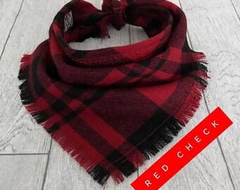 Frayed Red Check Puppy Dog Bandana Tie on Scarf