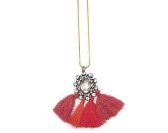 Long Tassel Necklace - Long Tassel Necklace For Women - Red Tassel Necklace - Long Summer Necklace - Summer Necklace - Beach Necklace