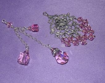 2 sterling silver pink swarovski crystal beads pendants