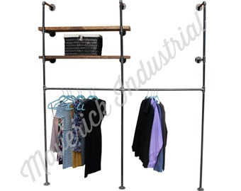 Industrial Retail Wall Display - Wall Mounted Clothes Rack - Industrial Furniture