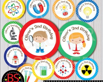 Science Party Cupcake Topper, Mad Scientist Cake Topper, Science Party Party Tag, Experiment Decorations Centerpiece