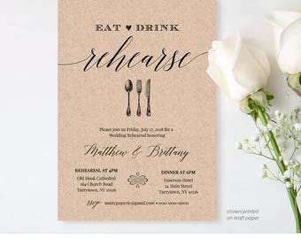 Rehearsal Dinner Invitation Template, Printable Rustic Wedding Rehearsal Invite, INSTANT DOWNLOAD, Editable Template, Digital #NC-106RD