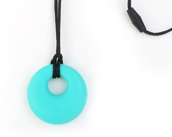Necklace made of silicone, Babywearing necklace, nursing necklace teething necklace - aqua