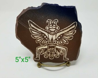 "5""x5"" Petroglyph Replica Rock Art Hand Crafted by Local Texas Artist"