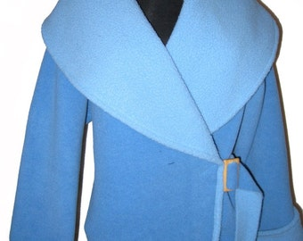 Fleece Wrap Jacket Blue