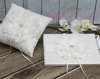 FAST SHIPPING!! Guest Book and Ring Pillow Set, Off White Guest Book, Vintage Guest Book, Wedding Guest Book, Ring Bearer Pillow