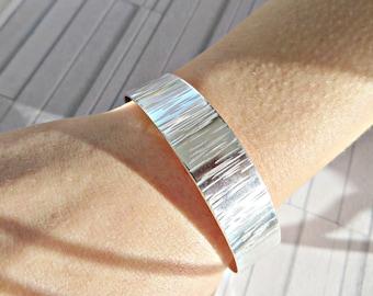 Sterling silver cuff, Sterling silver bracelet, Textured silver cuff, Hand forged cuff, Hallmarked 925 cuff, Silver cuff bracelet, UK made