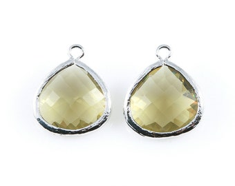 2pcs Olivine Faceted Glass Charm in Rhodium, Framed Drop Glass Bead / Gems / Birthstone / Olive / 15mm x 18mm / GOVRH-001-P (Large)