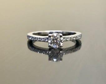 18K White Gold Diamond Engagement Ring - 18K Gold Solitaire Diamond Wedding Ring - 18K Diamond Solitaire Ring - White Gold 18K Diamond Ring