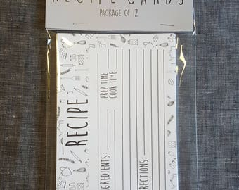 Kitchen Utensil Recipe Cards
