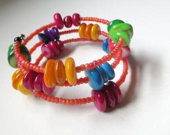 SALE ITEM - Colorful Shell Bracelets, Triple Wrap Shell Bracelet, Easy To Wear Bracelets, For Small Wrist.
