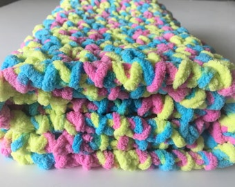 Pastels Baby Blanket, Crochet Baby Blanket, Photo Prop, Newborn Baby Blanket, Car Seat Blanket, Gender Neutral, Free Shipping Ready to Ship