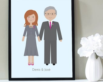 Custom Portrait, Couple Portrait, Anniversary Gift, Housewarming, 50th Anniversary