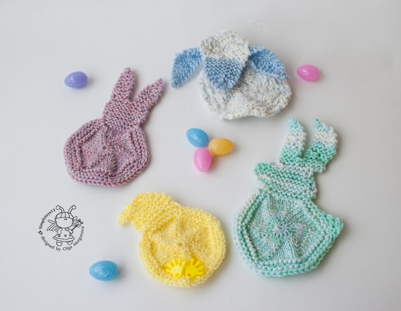 Knitting Easter Bunnies : Applique easter bunny lamb chicken knitting pattern knitted