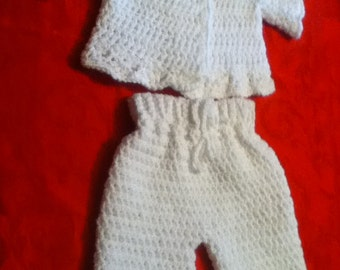Baby White Sweater and Pants Handmade Crocheted Set 3 to 9 mos.