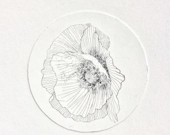 Poppy flower, Poppy art, Poppy Illustration, flower illustration, drypoint etching, flower wall art, flower art print, poppy print, wedding