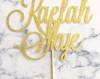 Gold Glitter Name Cake Topper for Birthdays, Baby Showers, Parties