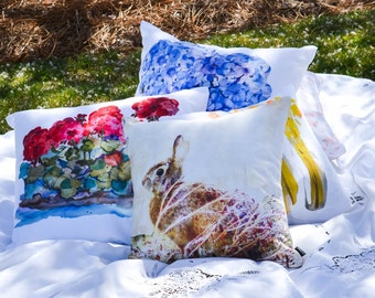 Outdoor Pillow Cover with Pillow Insert, Celebrate Summer, Outdoor Pillows with inserts.  Geraniums, Hydrangeas, Daffodils and Bunny