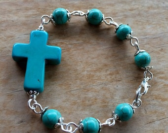 Choose your color! Howlite cross bracelet, handmade with dyed howlite turquoise beads - available in 5 colors