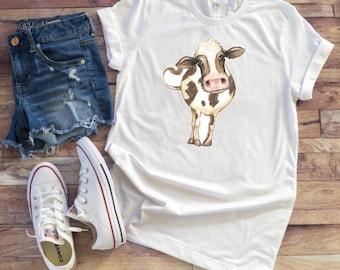 Adult Cow Shirt/ Farm Shirt/ Cow Ladies Shirt/ Cow Lover Gift/ Womens Shirt/ Graphic Tee #52