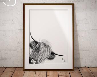 HIGHLAND COW Art Print, Highland Cow Print Black and White, Farm Animals, Highland Cow Printable, Highland Cow Decor, Highland Cow Wall Art,